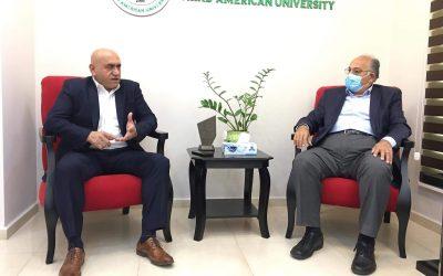 الرجوب يبحث مع رئيس الجامعة العربية الأمريكية تنظيم الأوضاع في محيط الجامعة
